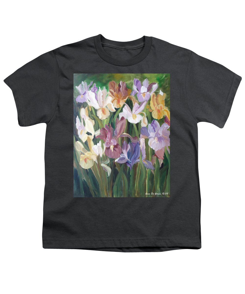 Irises Youth T-Shirt featuring the painting Irises by Gina De Gorna