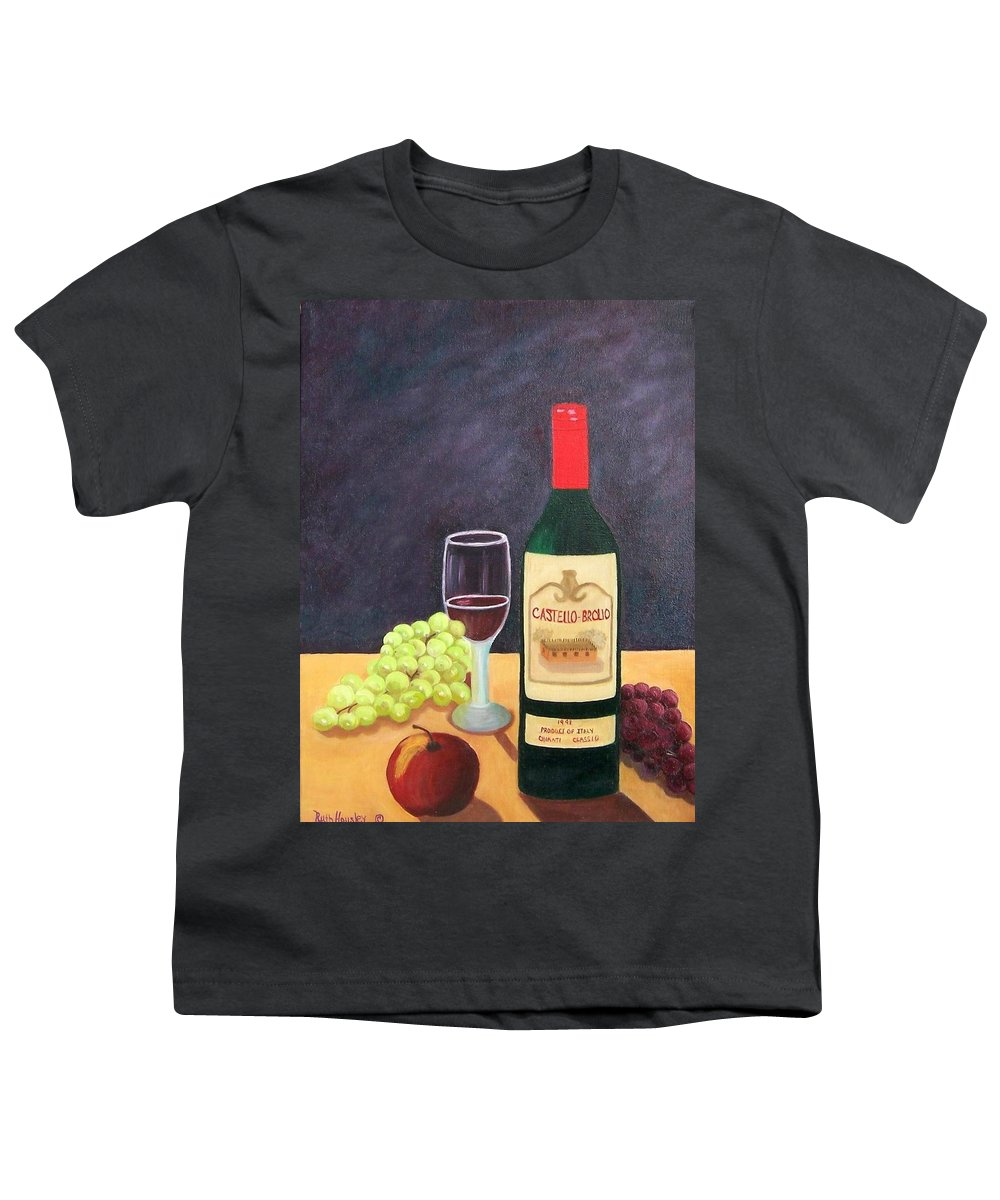 Still Life Youth T-Shirt featuring the painting Italian Wine And Fruit by Ruth Housley