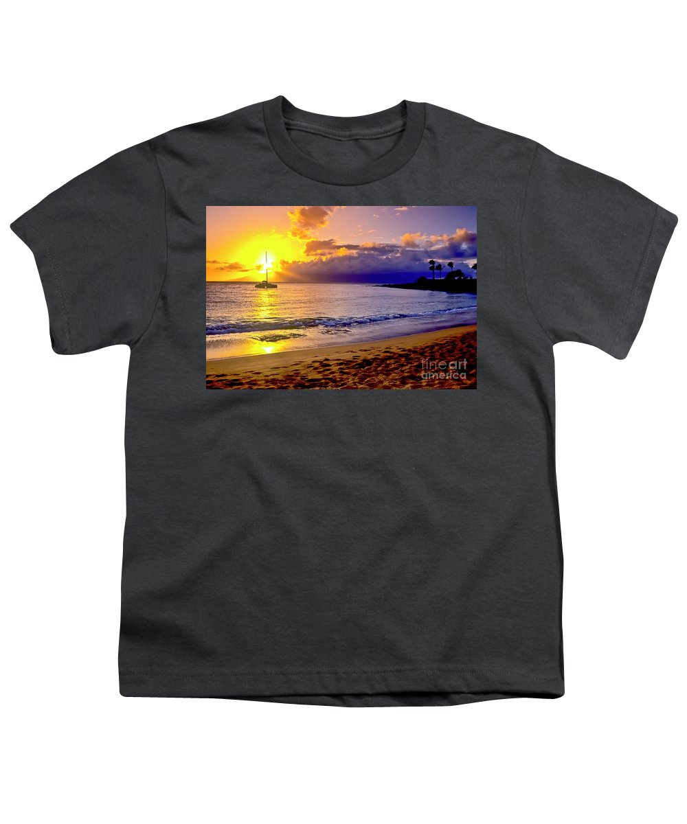 Scenics Youth T-Shirt featuring the photograph Kapalua Bay Sunset by Jim Cazel