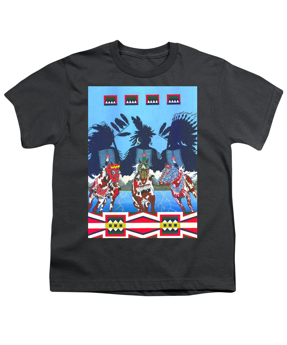 America Youth T-Shirt featuring the painting Keepers Of The Law by Chholing Taha