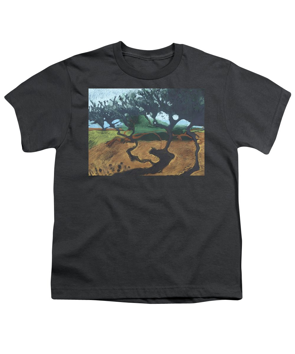 Contemporary Tree Landscape Youth T-Shirt featuring the drawing La Jolla I by Leah Tomaino