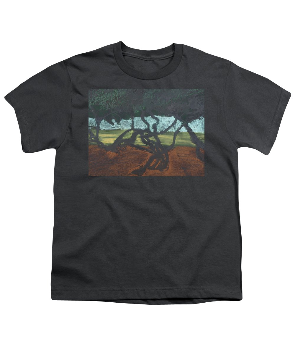 Contemporary Tree Landscape Youth T-Shirt featuring the mixed media La Jolla II by Leah Tomaino