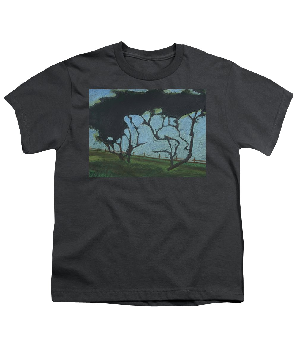 Contemporary Tree Landscape Youth T-Shirt featuring the mixed media La Jolla IIi by Leah Tomaino