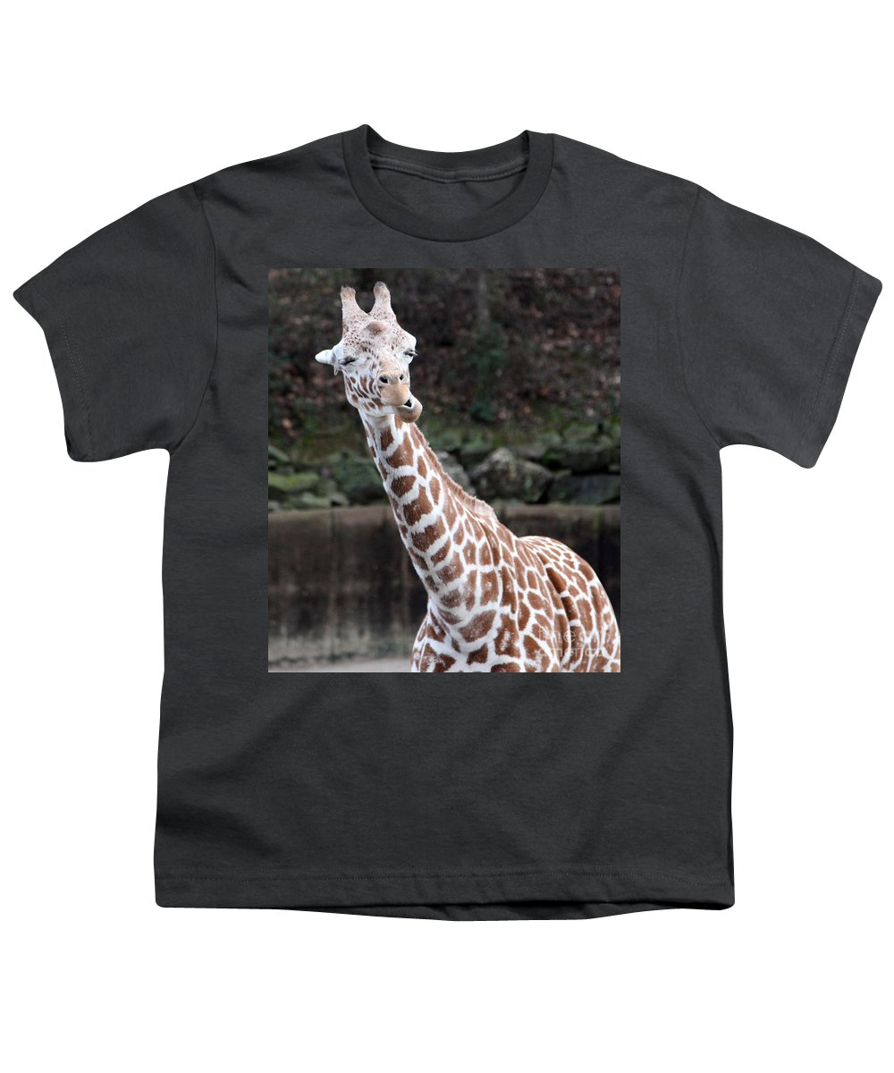 Laughing Giraffe Youth T-Shirt featuring the photograph Laughter by Amanda Barcon