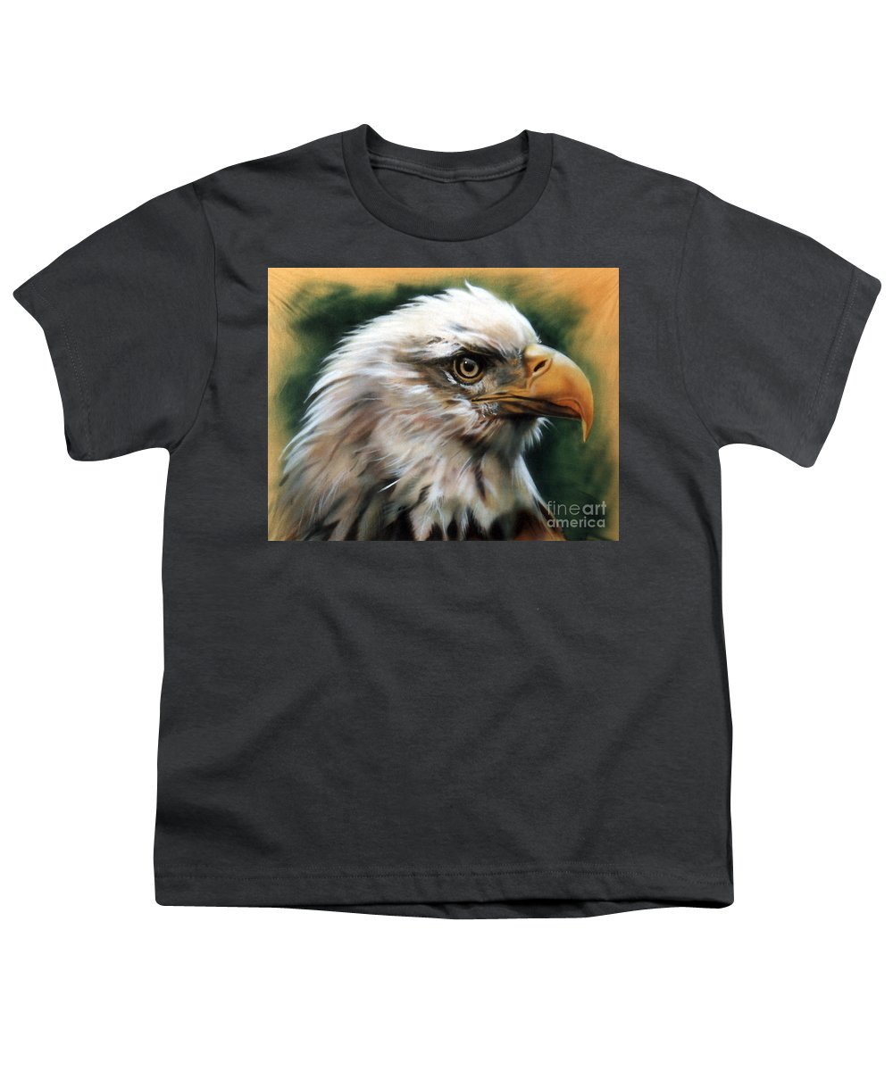 Southwest Art Youth T-Shirt featuring the painting Leather Eagle by J W Baker