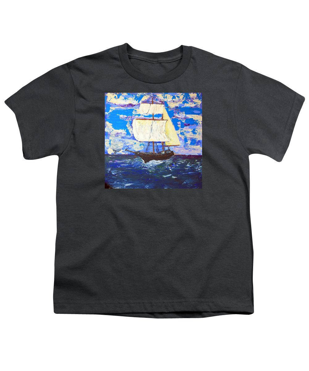 Clipper Youth T-Shirt featuring the painting Little Clipper by J R Seymour