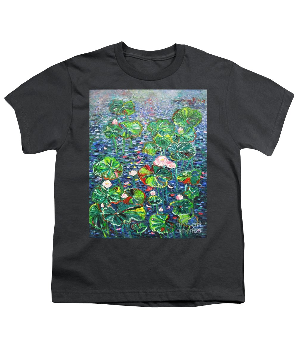 Water Lily Paintings Youth T-Shirt featuring the painting Lotus Flower Water Lily Lily Pads Painting by Seon-Jeong Kim
