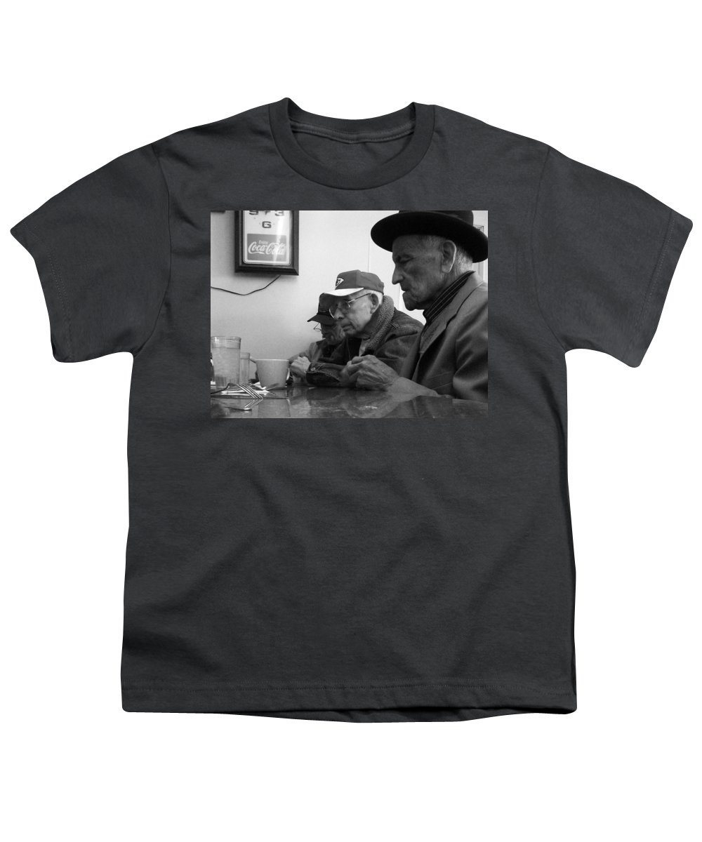 Diner Youth T-Shirt featuring the photograph Lunch Counter Boys - Black And White by Tim Nyberg
