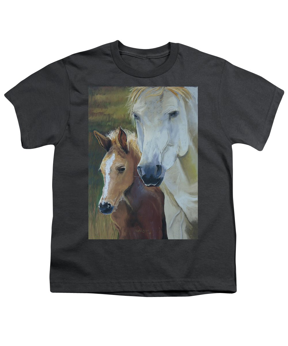 Horses Youth T-Shirt featuring the painting Mama's Boy by Heather Coen