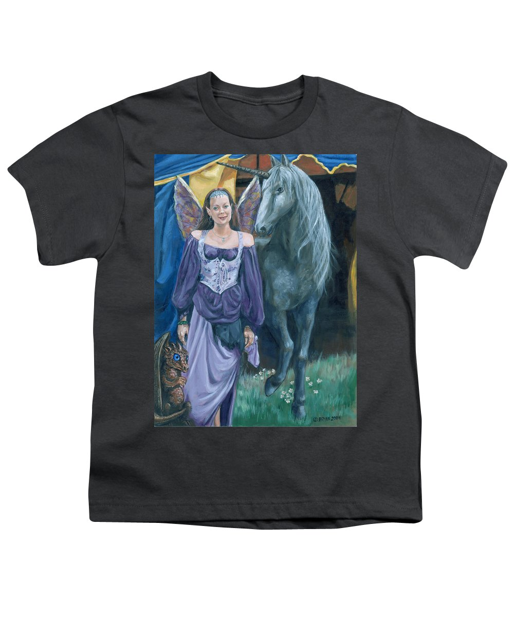 Fairy Faerie Unicorn Dragon Renaissance Festival Youth T-Shirt featuring the painting Medieval Fantasy by Bryan Bustard