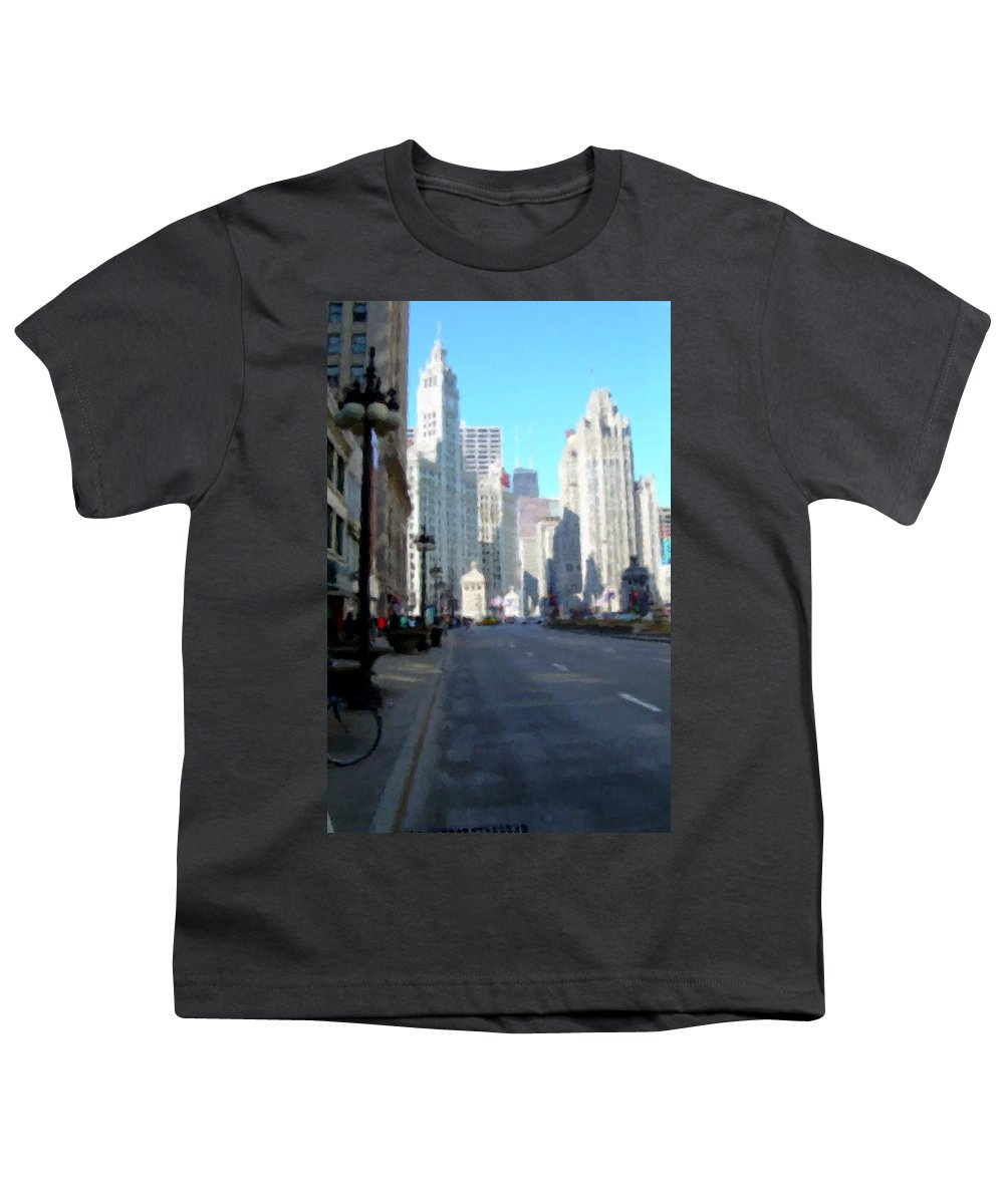Chicago Youth T-Shirt featuring the digital art Michigan Ave Tall by Anita Burgermeister