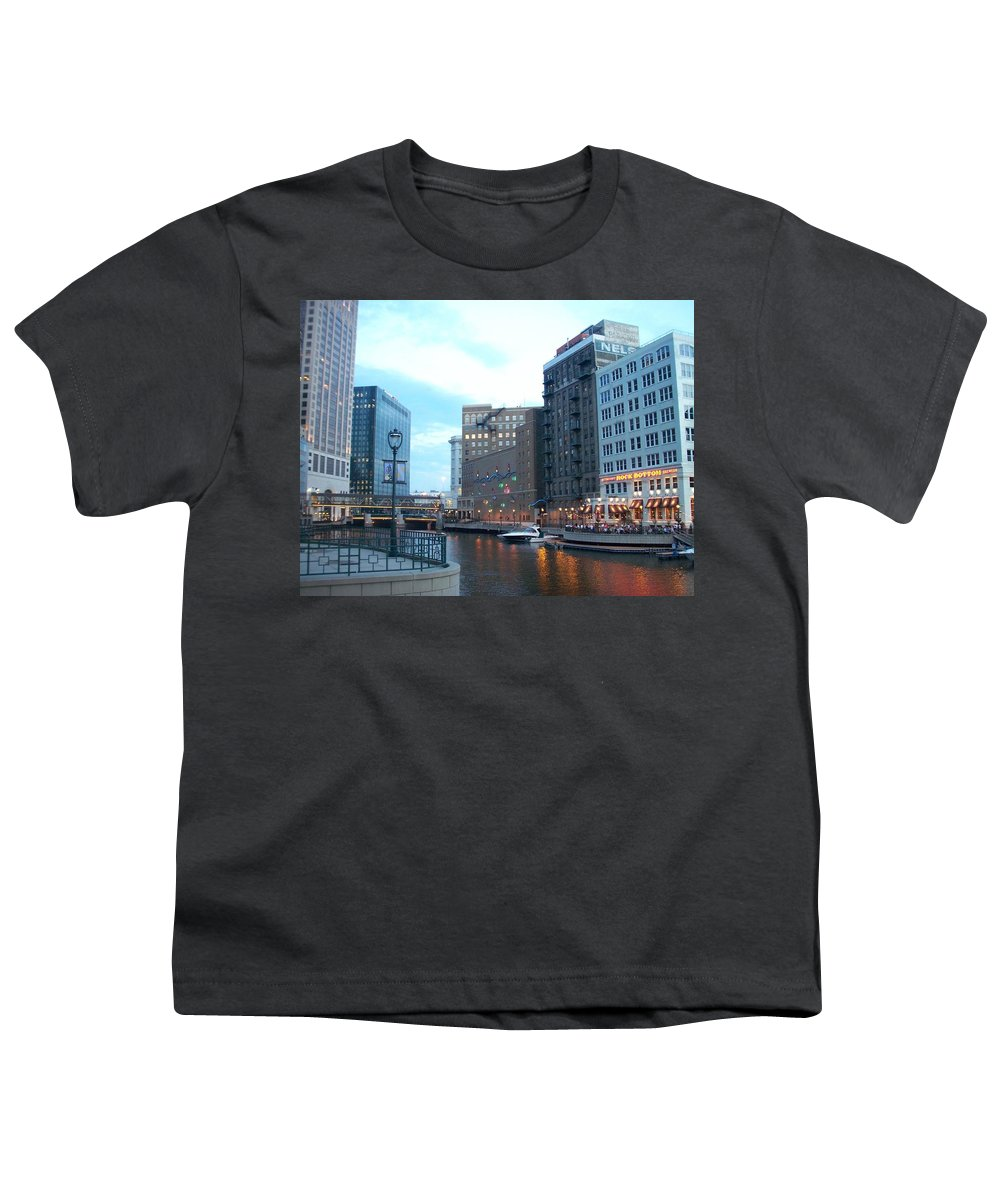Milwaukee Youth T-Shirt featuring the photograph Milwaukee River Walk by Anita Burgermeister