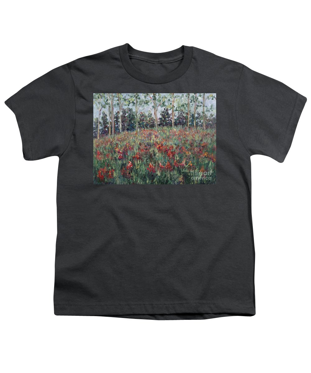 Landscape Youth T-Shirt featuring the painting Minnesota Wildflowers by Nadine Rippelmeyer