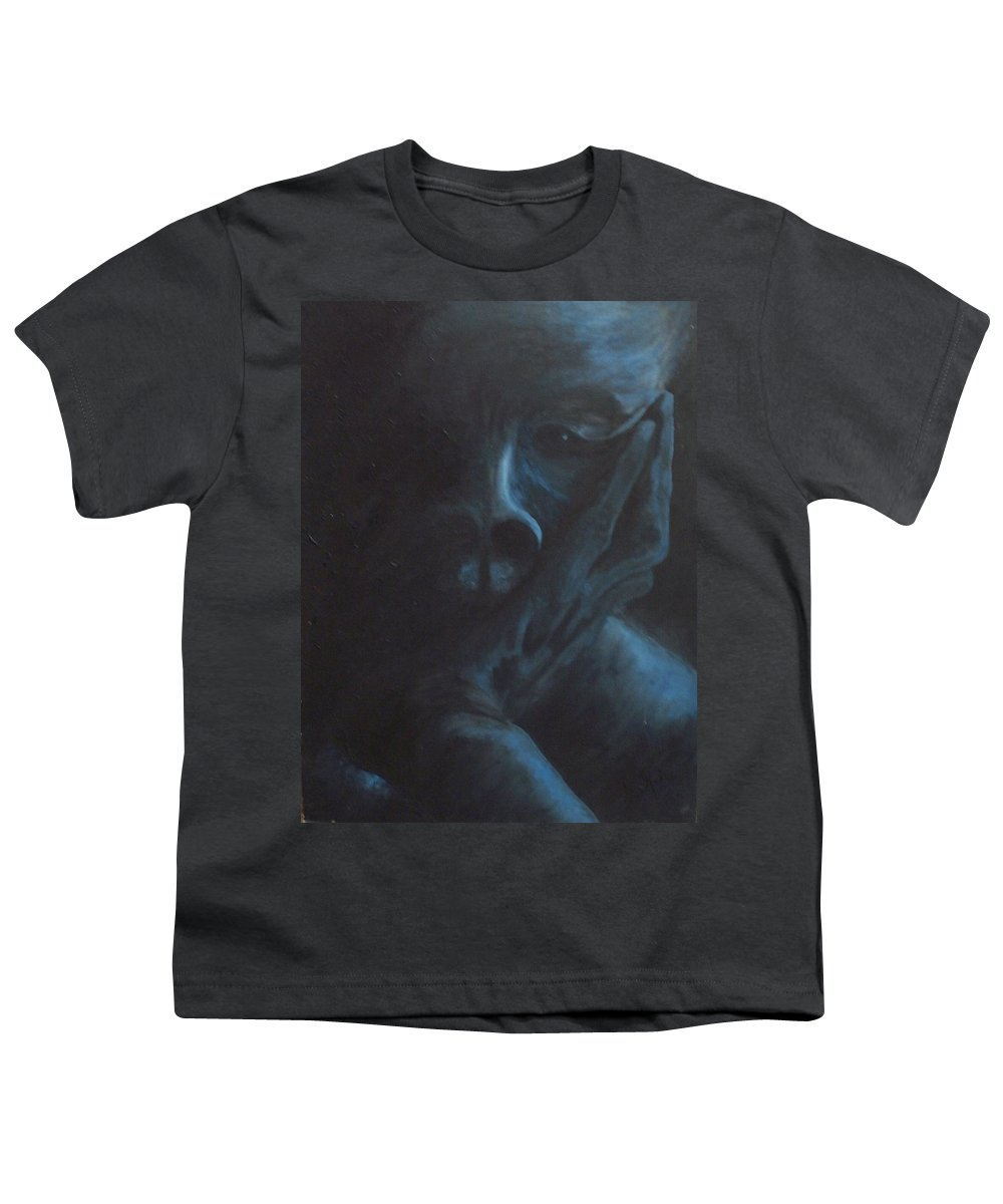 Sad Youth T-Shirt featuring the painting Misery by Gale Cochran-Smith