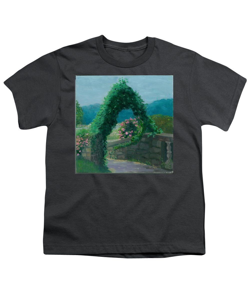 Landscape Youth T-Shirt featuring the painting Morning At Harkness Park by Paula Emery