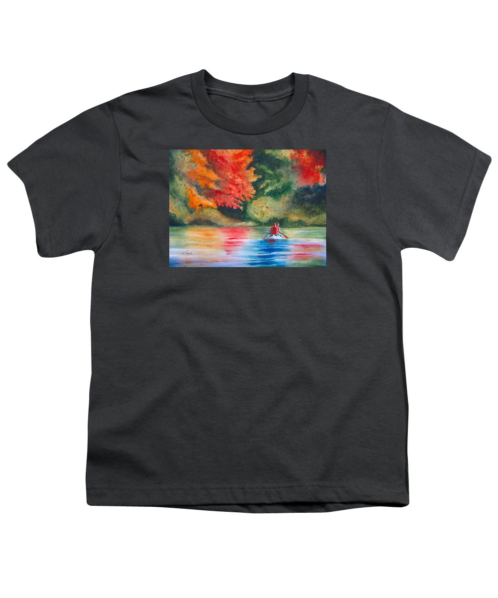Lake Youth T-Shirt featuring the painting Morning On The Lake by Karen Stark