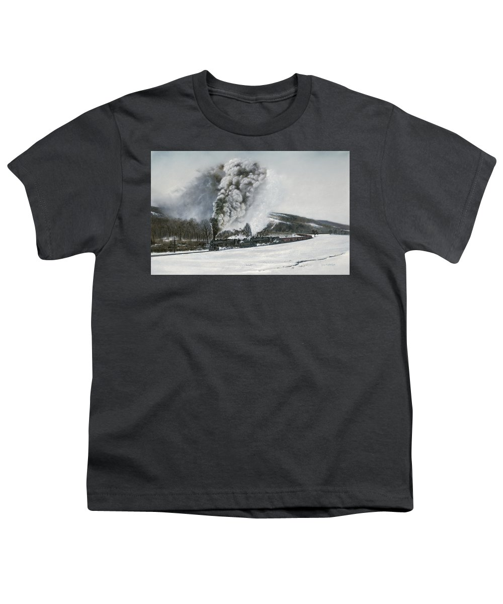 Trains Youth T-Shirt featuring the painting Mount Carmel Eruption by David Mittner