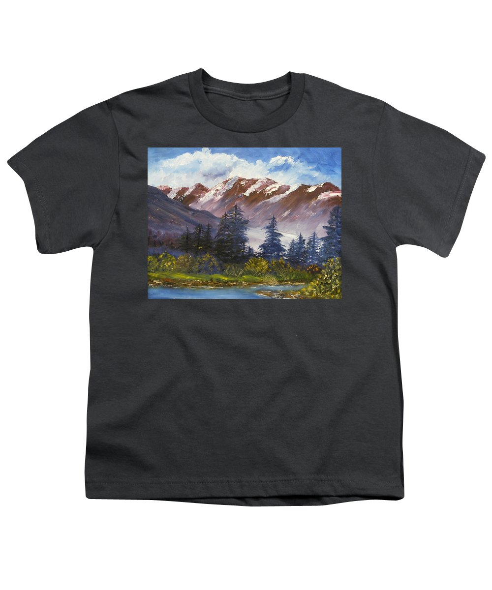 Oil Painting Youth T-Shirt featuring the painting Mountains I by Lessandra Grimley