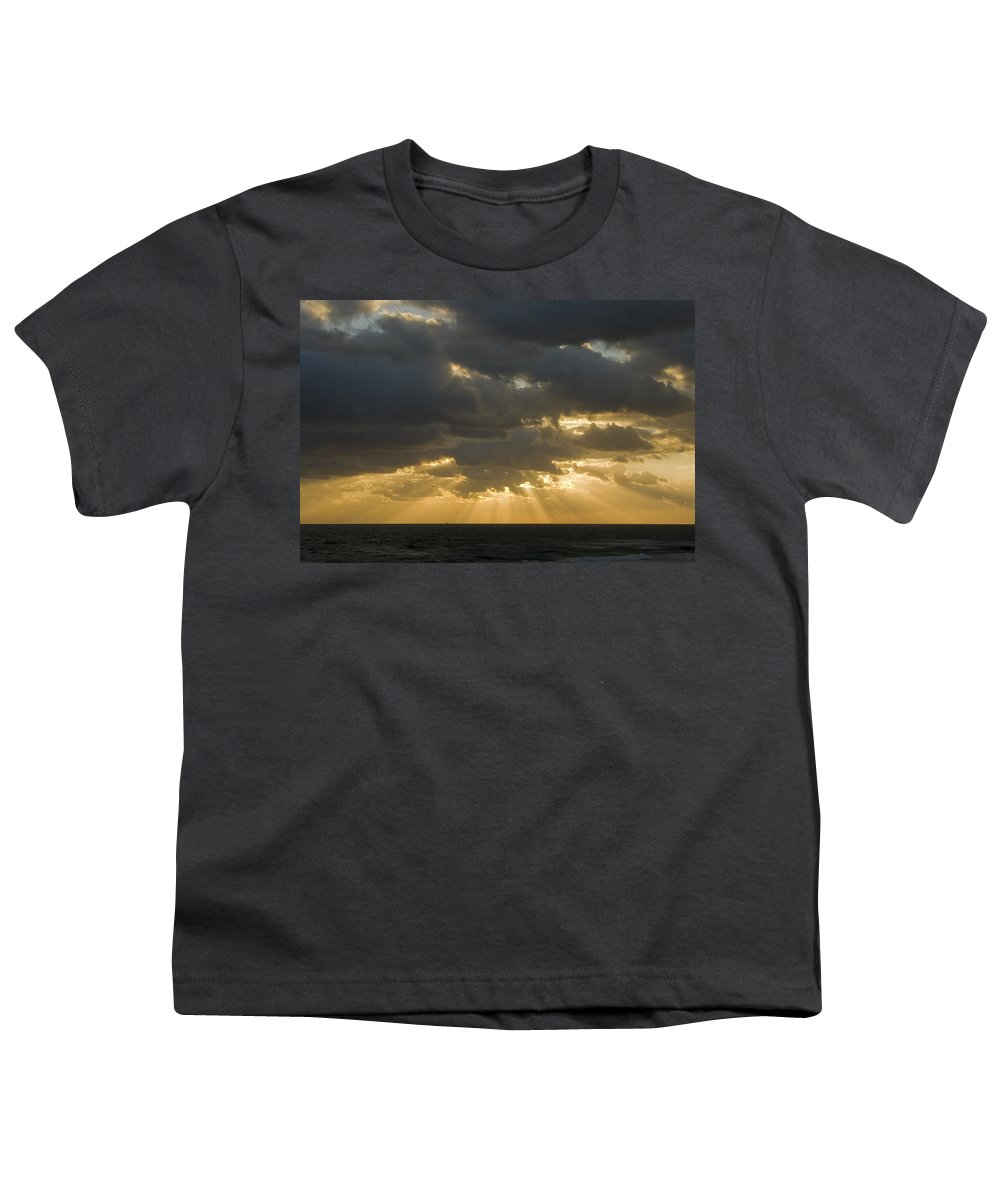 Ocean Sunset Sun Cloud Clouds Ray Rays Beam Beams Bright Wave Waves Water Sea Beach Golden Nature Youth T-Shirt featuring the photograph New Beginning by Andrei Shliakhau