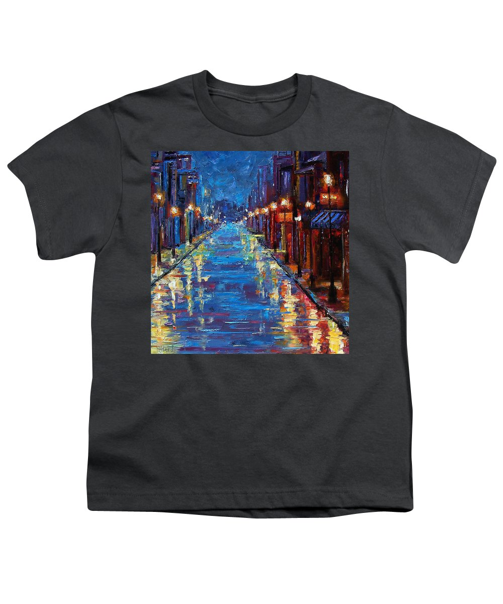 Cityscape Youth T-Shirt featuring the painting New Orleans Bourbon Street by Debra Hurd