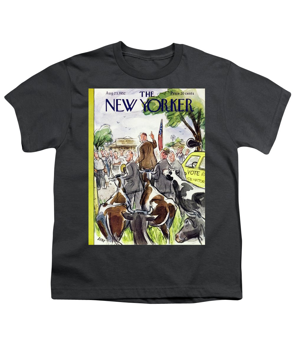 Politician Youth T-Shirt featuring the painting New Yorker August 23 1952 by Leonard Dove