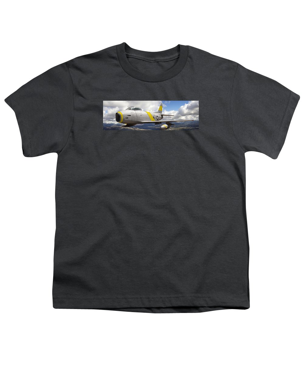 F-86 Sabre Youth T-Shirt featuring the photograph North American F-86 Sabre by Larry McManus