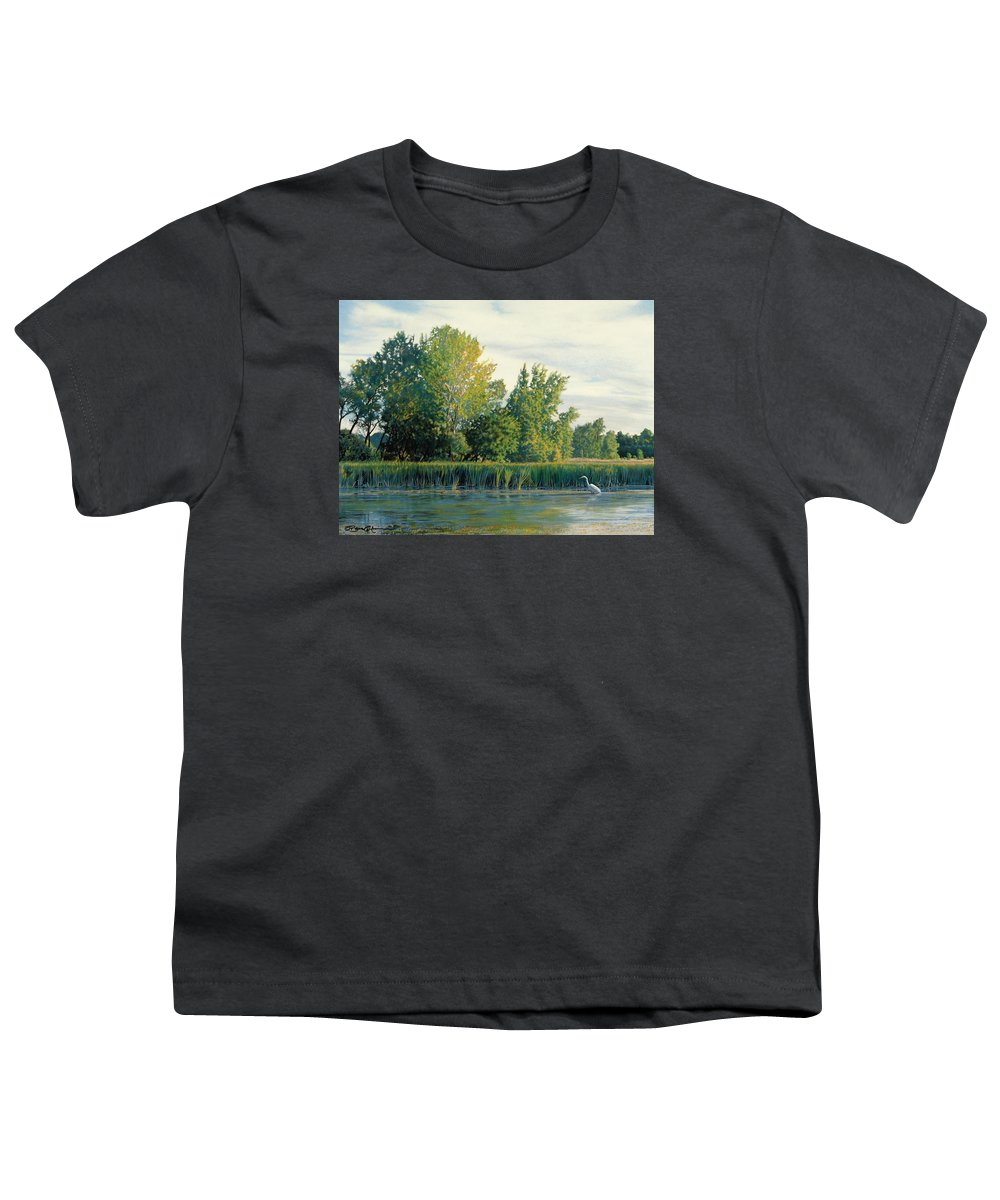 Great Egret Youth T-Shirt featuring the drawing North Of The Grade-great Egret by Bruce Morrison