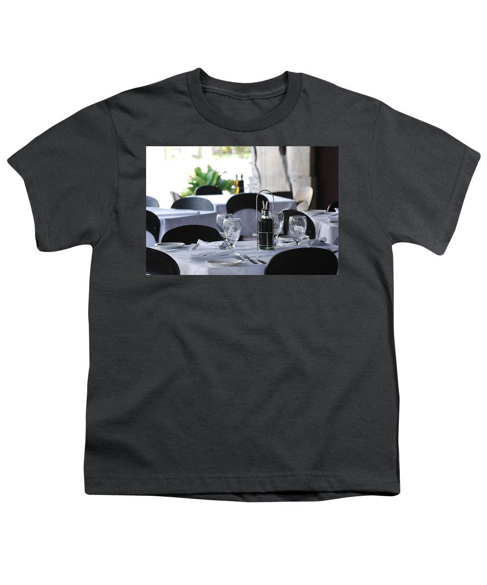 Tables Youth T-Shirt featuring the photograph Oils And Glass At Dinner by Rob Hans