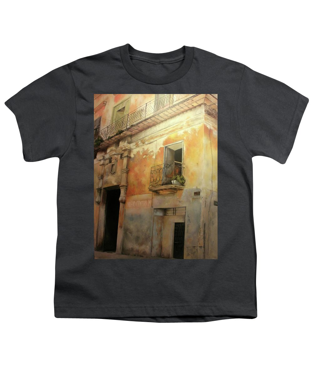 Havana Cuba Youth T-Shirt featuring the painting Old Havana by Tomas Castano