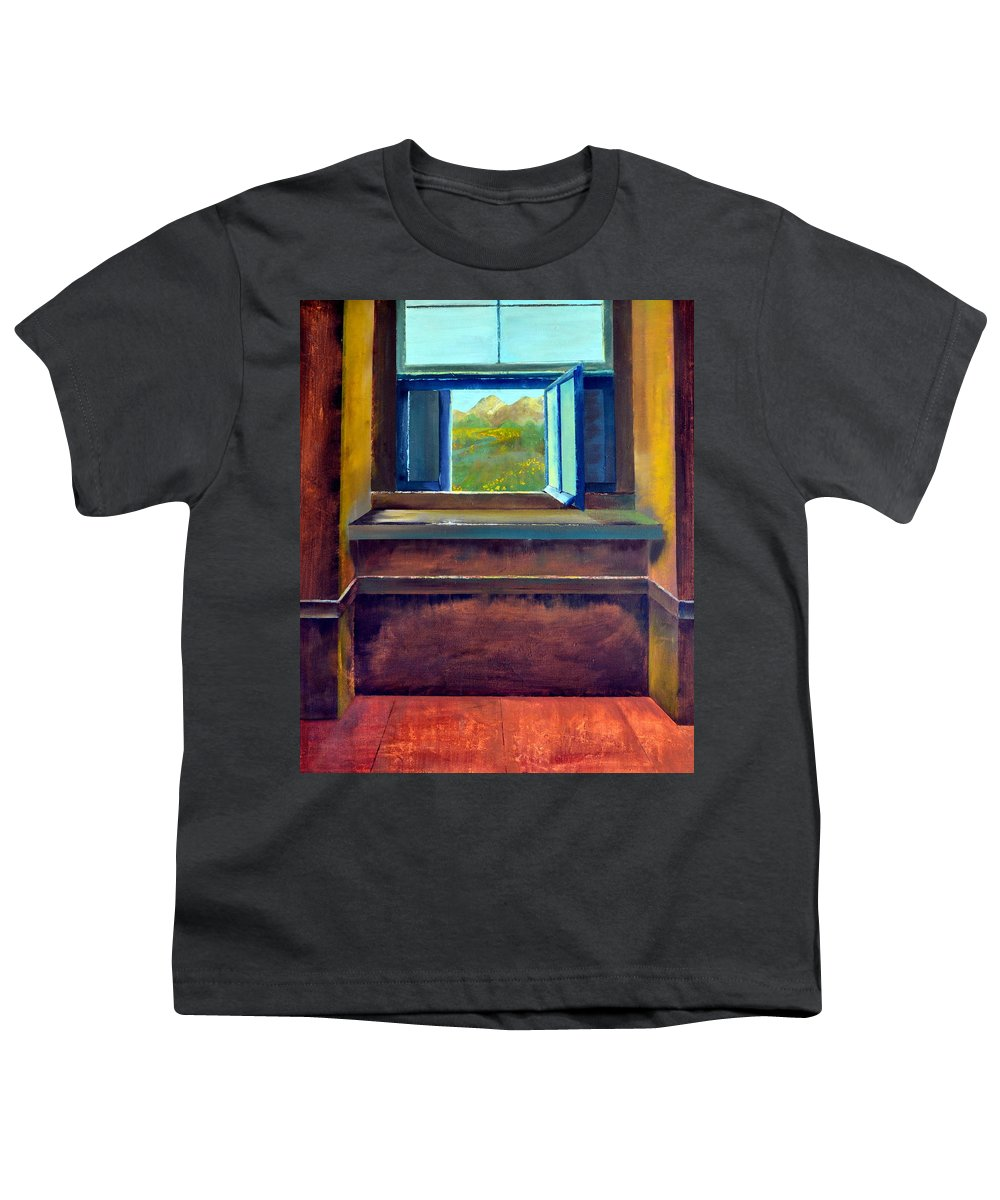 Trompe L'oeil Youth T-Shirt featuring the painting Open Window by Michelle Calkins