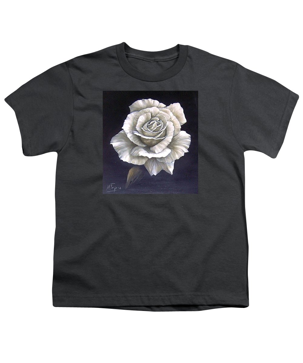 Rose Flower Youth T-Shirt featuring the painting Opened Rose by Natalia Tejera