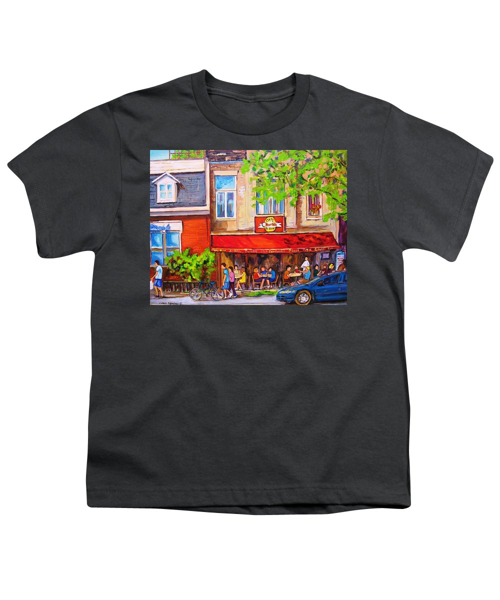 Montreal Youth T-Shirt featuring the painting Outdoor Cafe by Carole Spandau