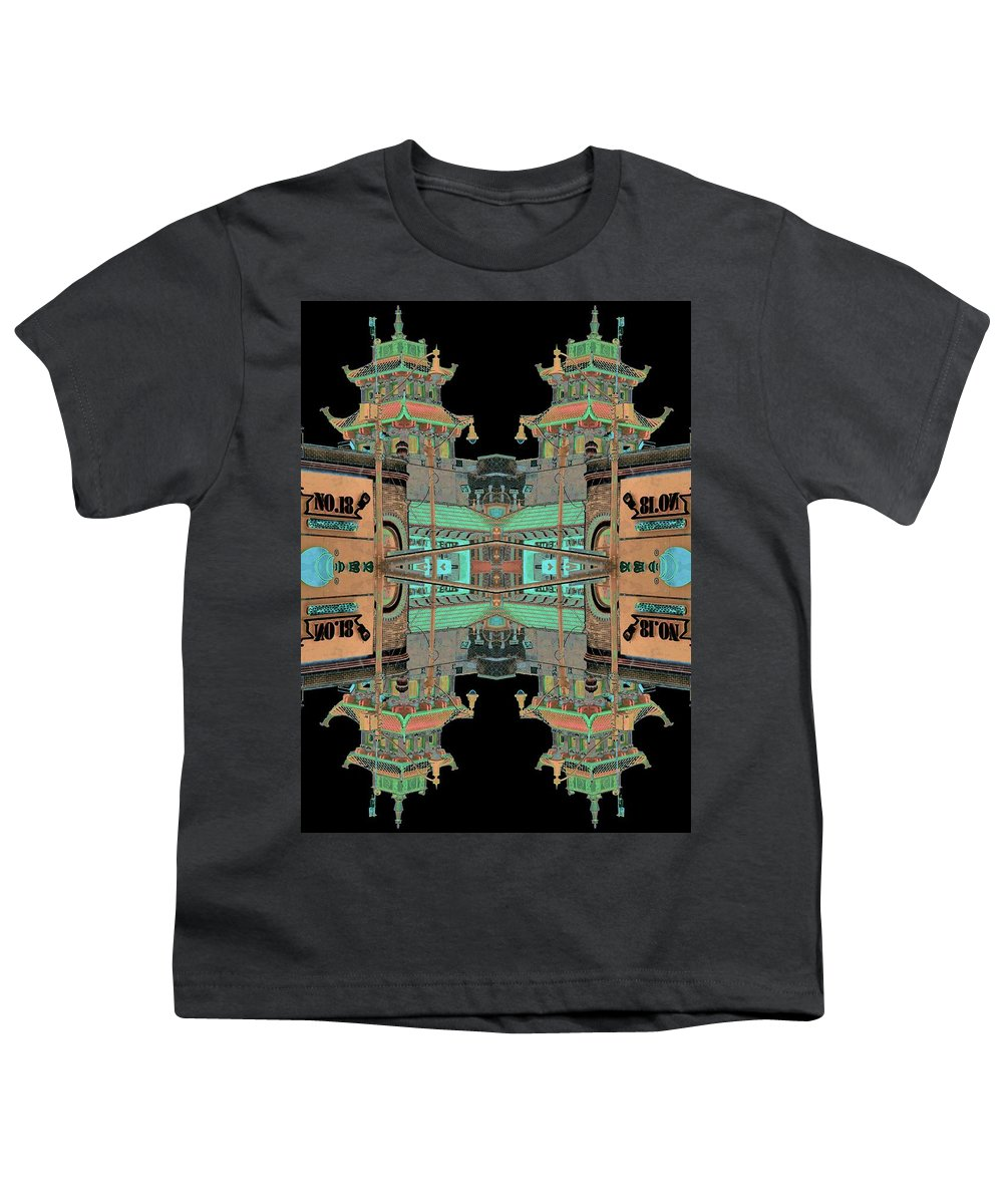 China Town Youth T-Shirt featuring the photograph Pagoda Tower Becomes Chinese Lantern 1 Chinatown Chicago by Marianne Dow