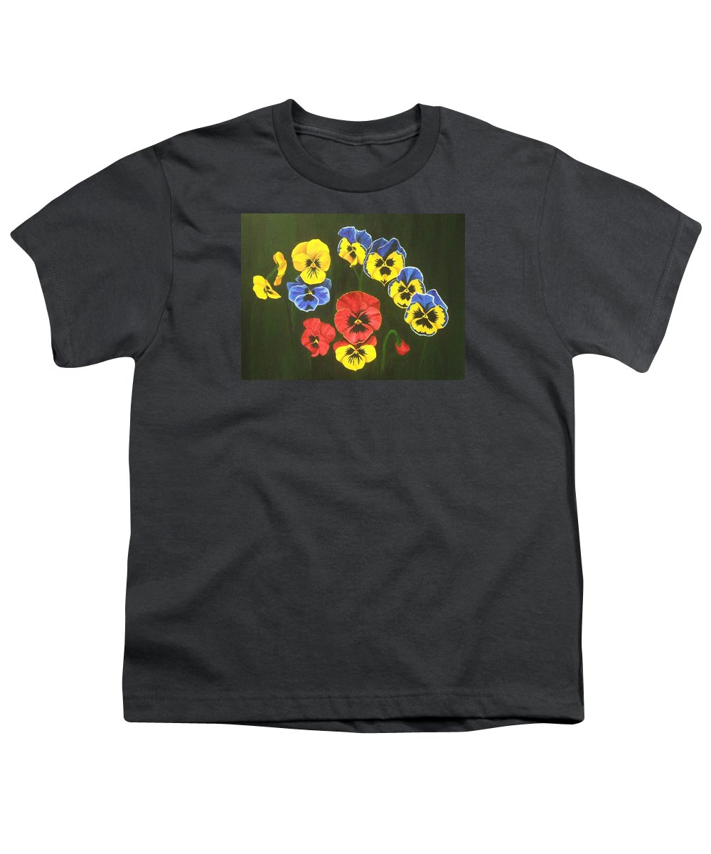 Pansy Flowers Youth T-Shirt featuring the painting Pansy Lions Too by Brandy House
