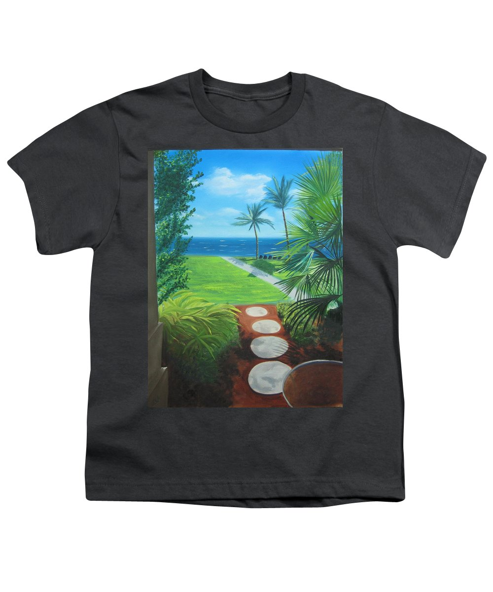 Seascape Youth T-Shirt featuring the painting Paradise Beckons by Lea Novak