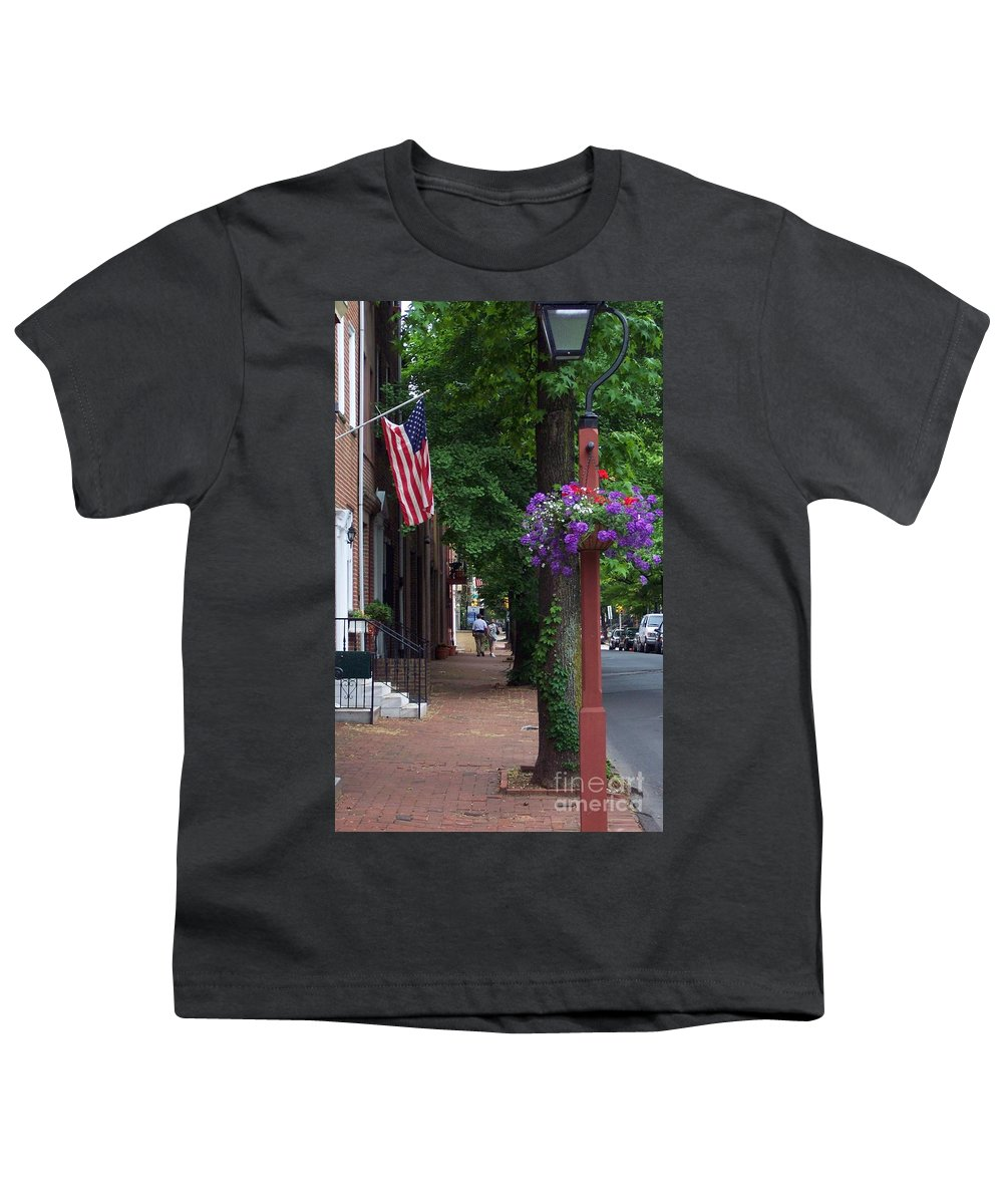 Cityscape Youth T-Shirt featuring the photograph Patriotic Street In Philadelphia by Debbi Granruth