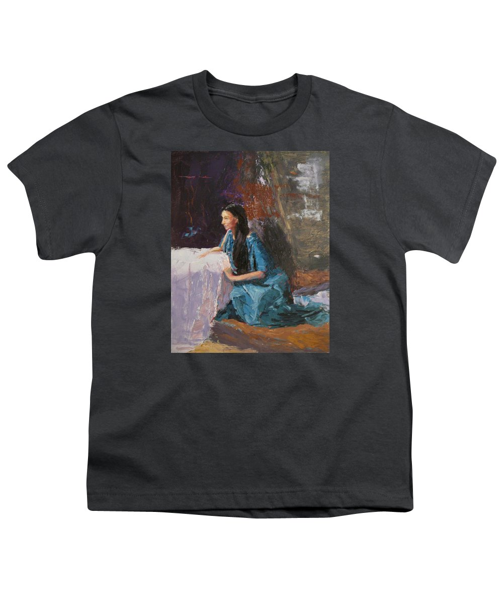 Sitting Woman Youth T-Shirt featuring the painting Penelope by Irena Jablonski