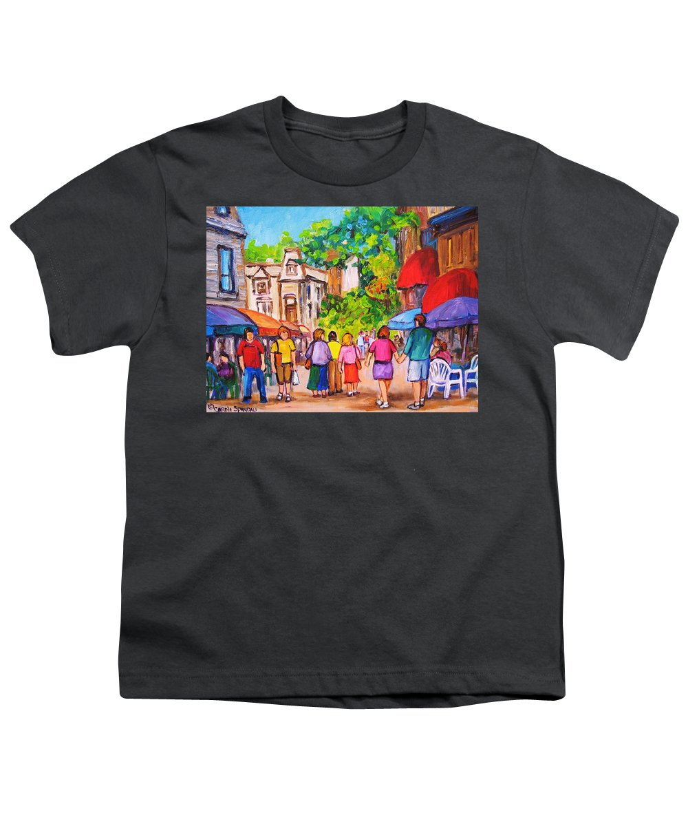 Rue Prince Arthur Montreal Street Scenes Youth T-Shirt featuring the painting Prince Arthur Street Montreal by Carole Spandau