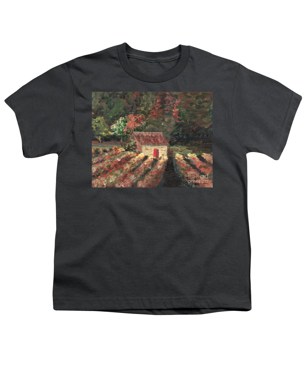 Landscape Youth T-Shirt featuring the painting Provence Vineyard by Nadine Rippelmeyer