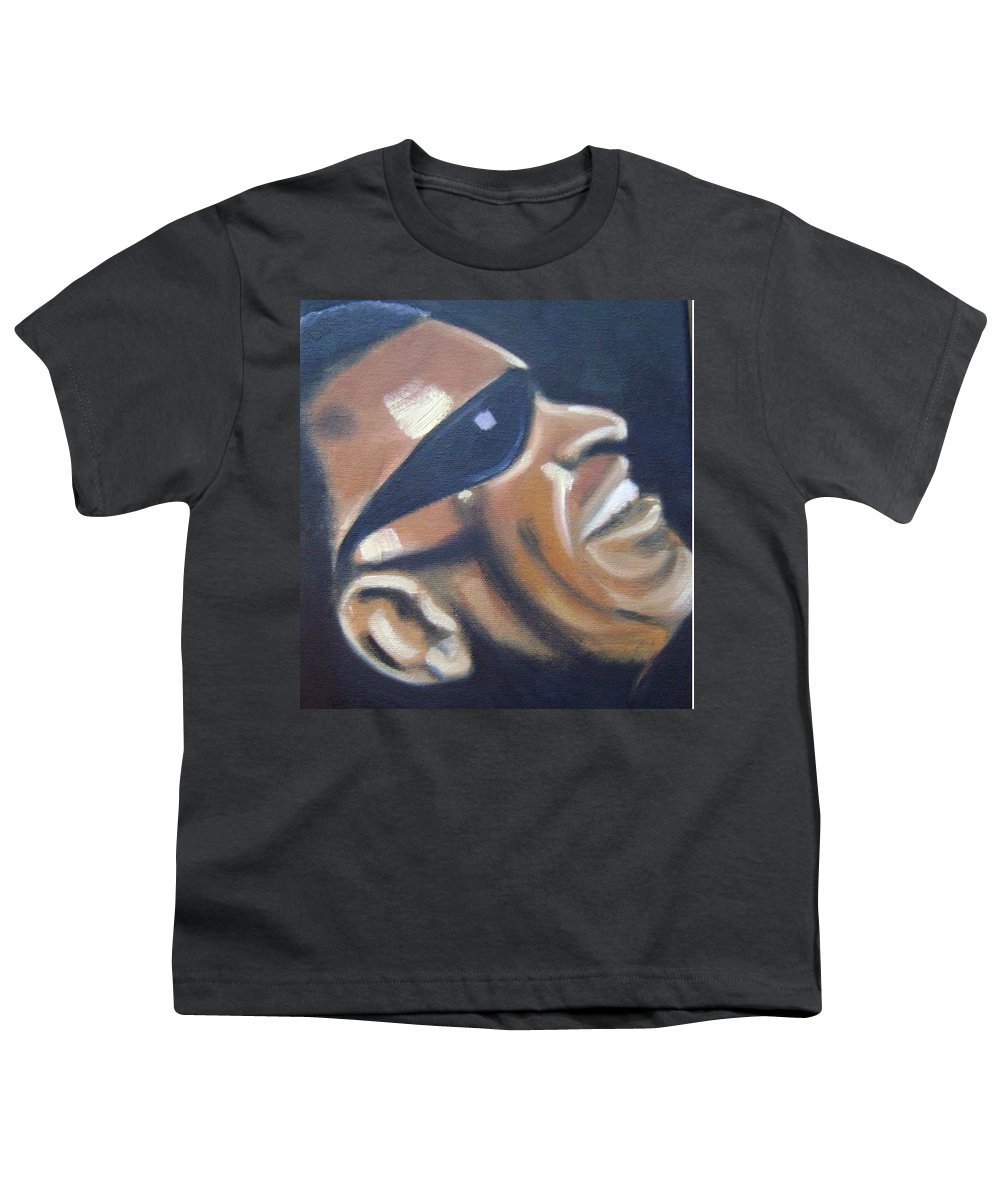 Ray Charles Youth T-Shirt featuring the painting Ray Charles by Toni Berry