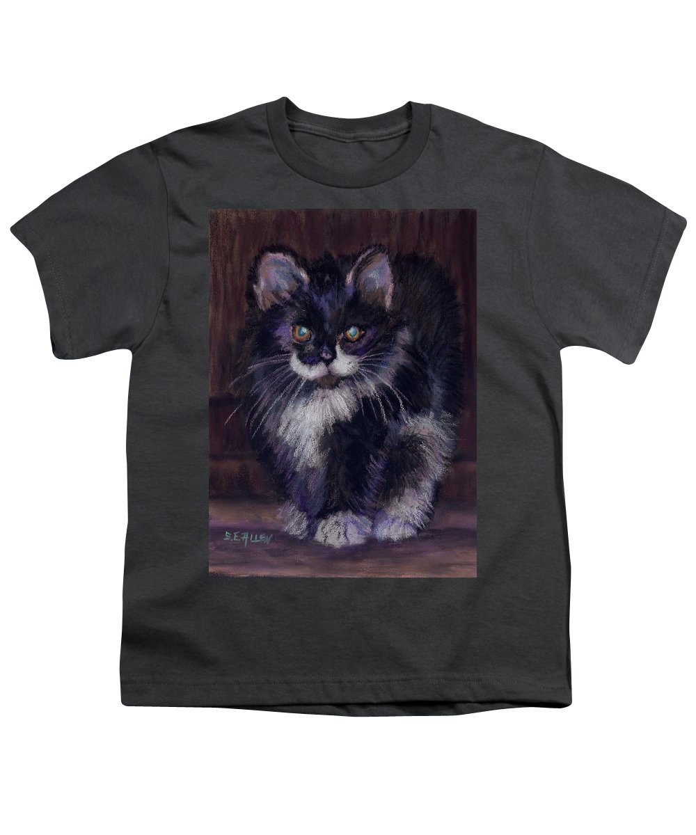 Kitten Youth T-Shirt featuring the painting Ready For Trouble by Sharon E Allen