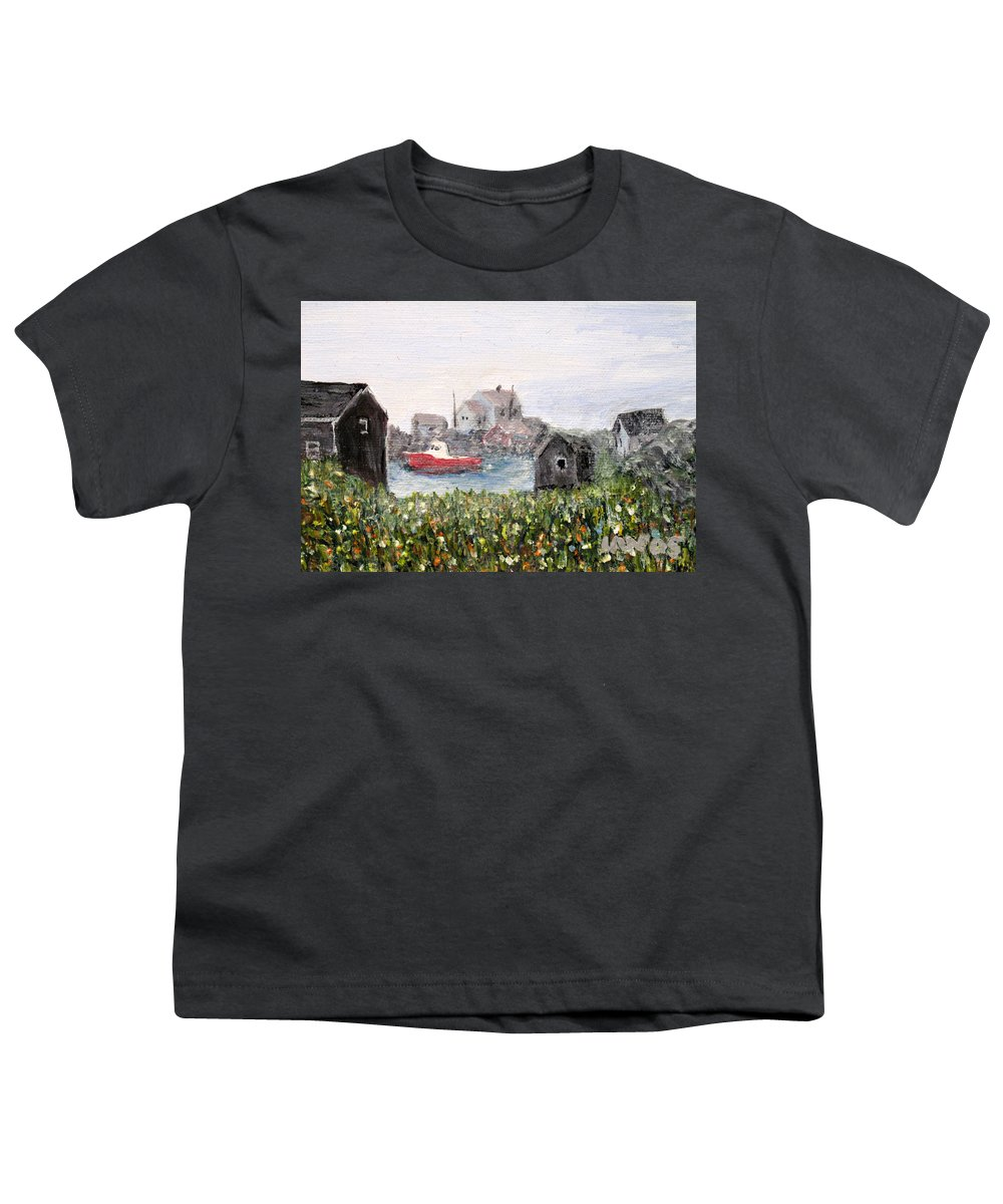 Red Boat Youth T-Shirt featuring the painting Red Boat In Peggys Cove Nova Scotia by Ian MacDonald