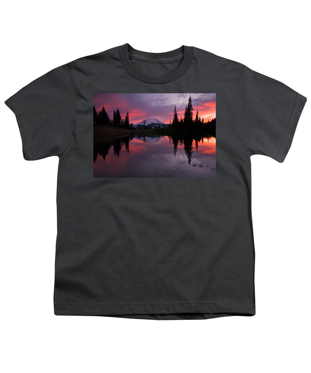 Rainier Youth T-Shirt featuring the photograph Red Sky At Night by Mike Dawson
