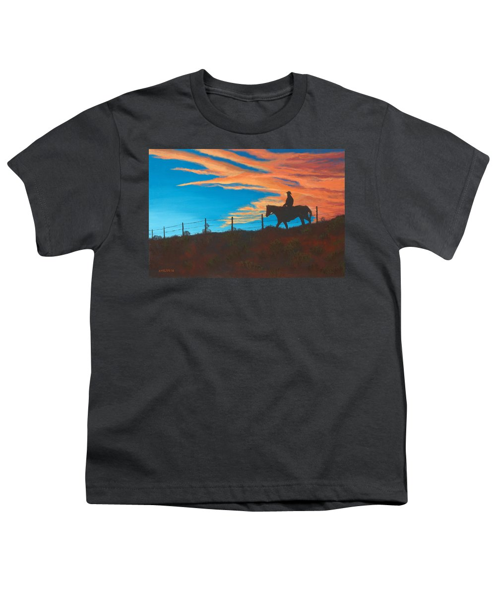Cowboy Youth T-Shirt featuring the painting Riding Fence by Jerry McElroy