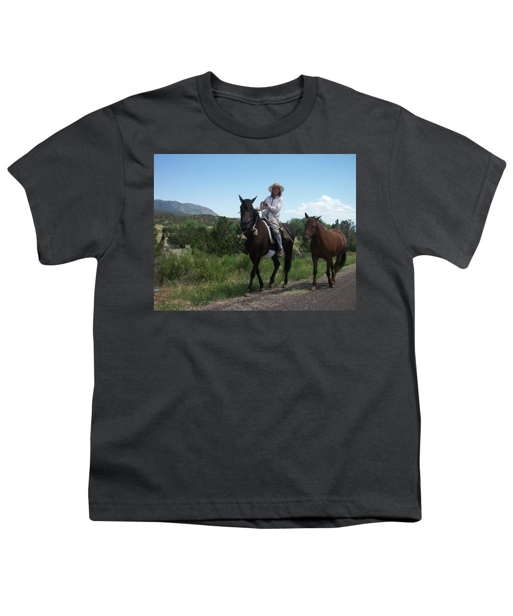 Horses Youth T-Shirt featuring the photograph Roadside Horses by Anita Burgermeister