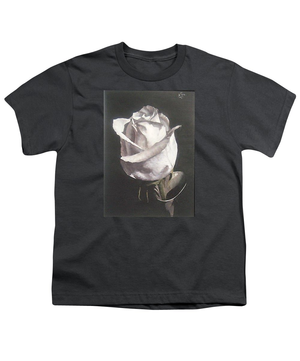 Rose Floral Nature White Flower Youth T-Shirt featuring the painting Rose 2 by Natalia Tejera