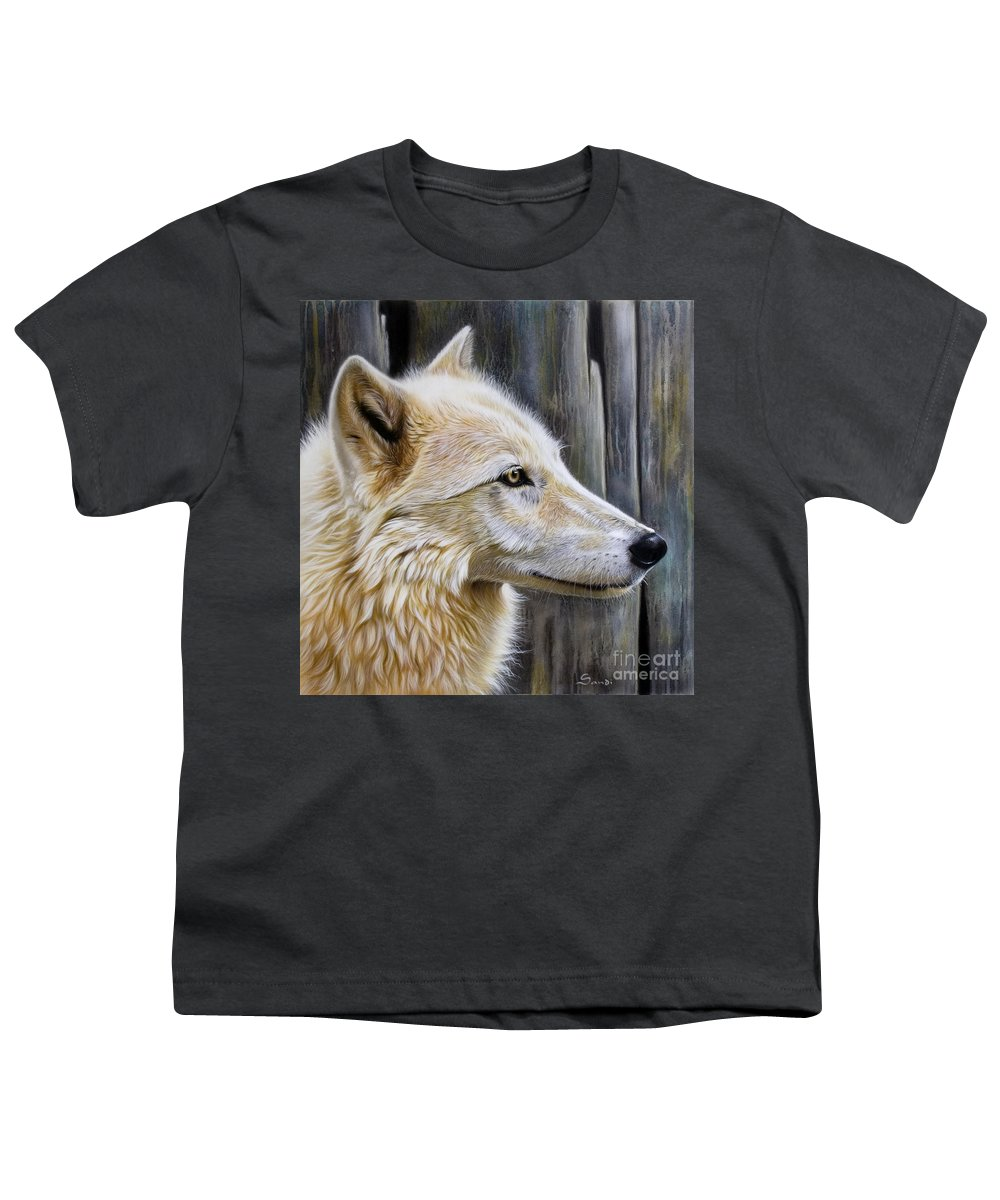 Wolves Youth T-Shirt featuring the painting Rose by Sandi Baker