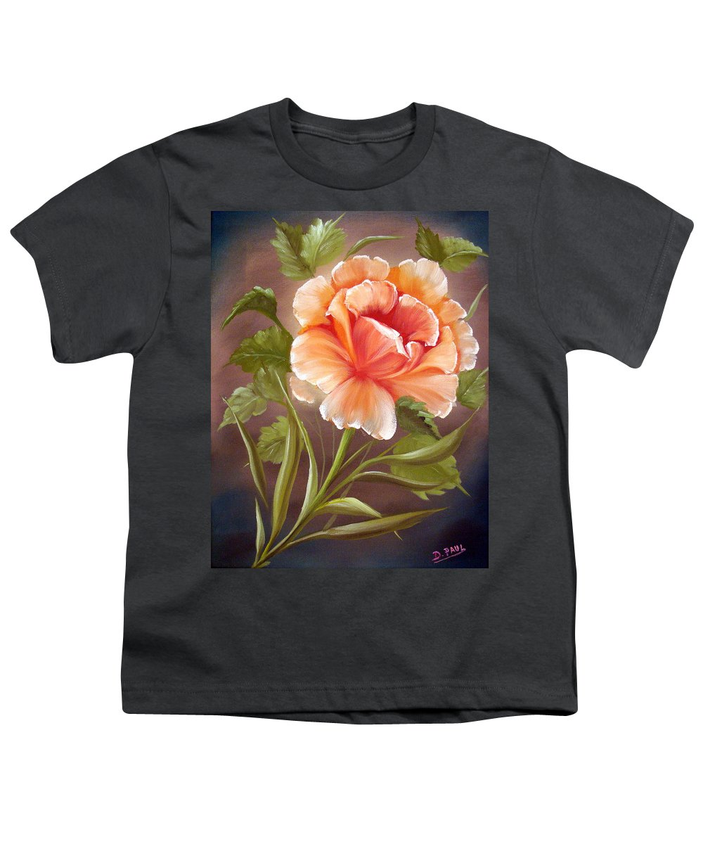 Rose Youth T-Shirt featuring the painting Rose Tropicana by David G Paul