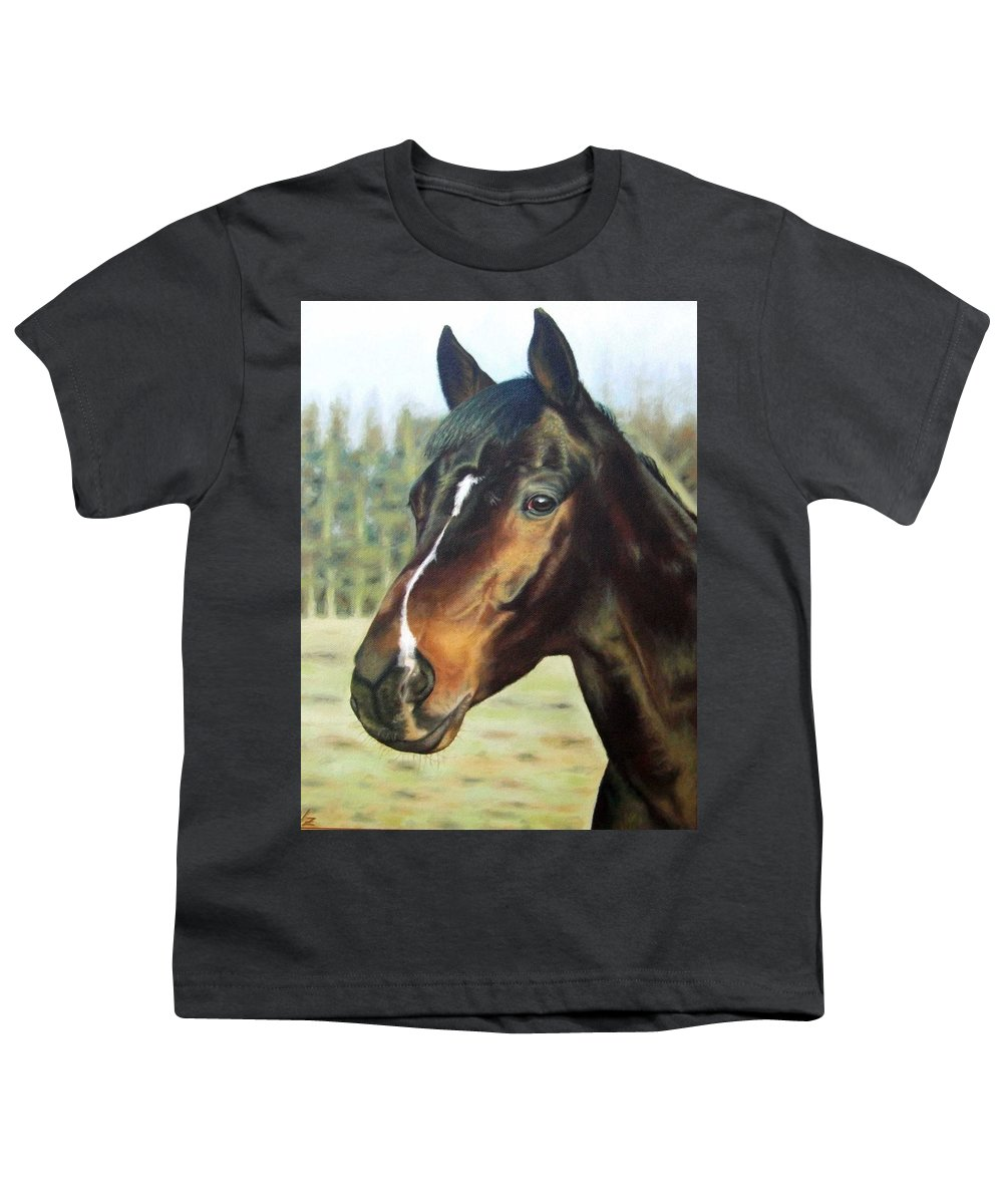 Horse Youth T-Shirt featuring the painting Russian Horse by Nicole Zeug