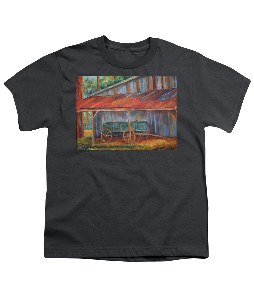 Old Wagons Youth T-Shirt featuring the painting Rustification by Ginger Concepcion
